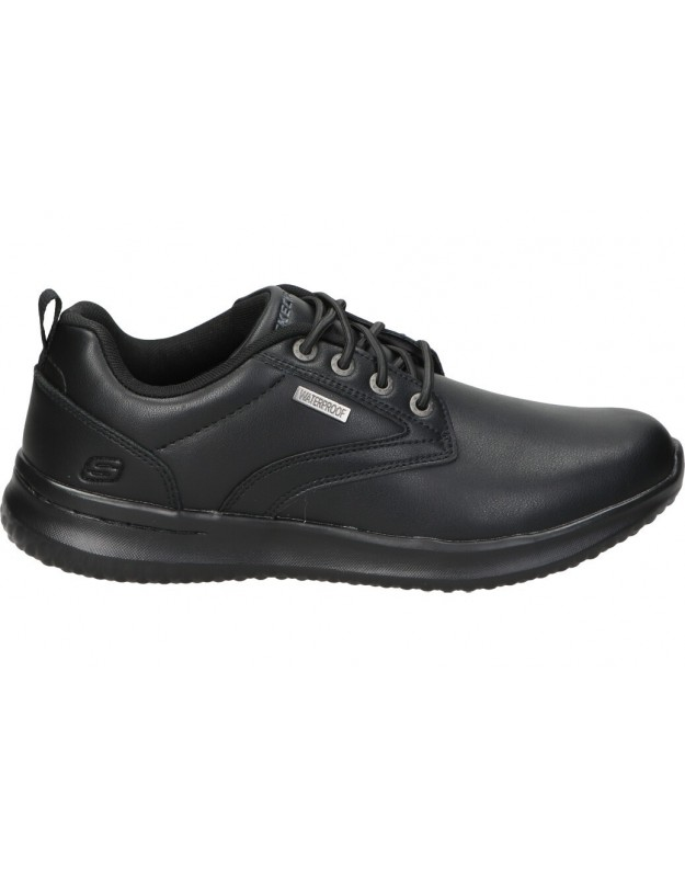 Zapatos skechers Delson- Antigo 65693-bbk negro para caballero - WATERPROOF