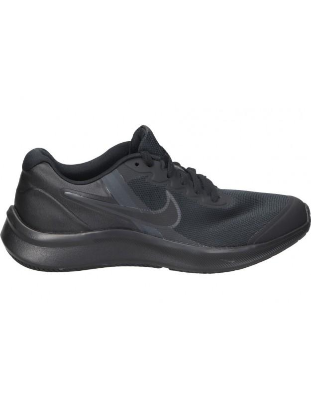 Deportivas para señora planos nike star runner da2776-001 en negro