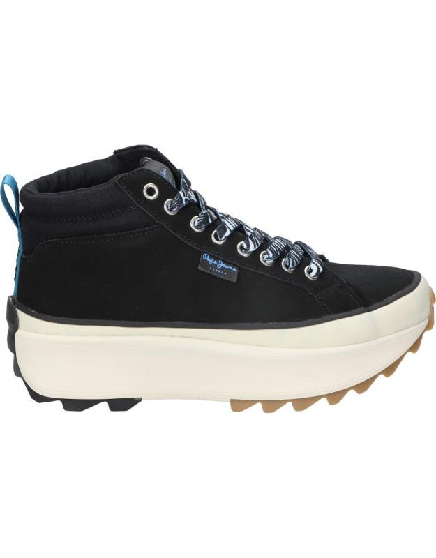 Deportivas casual de moda joven pepe jeans pls31276 color negro