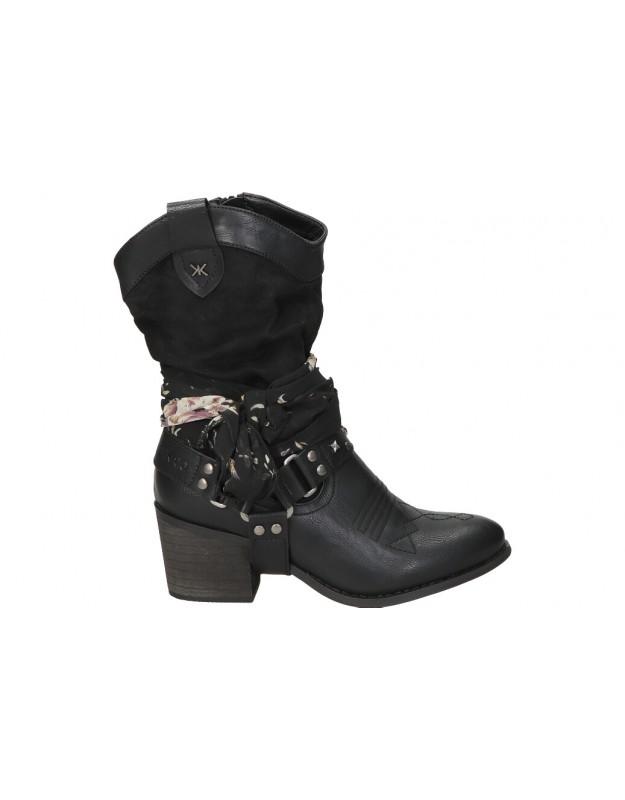 Botines casual de moda joven CHK10 lily 12 color negro